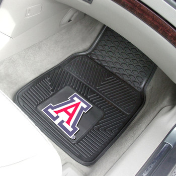 University of Arizona Heavy Duty Vinyl Front Black Car Mat, Set of 2