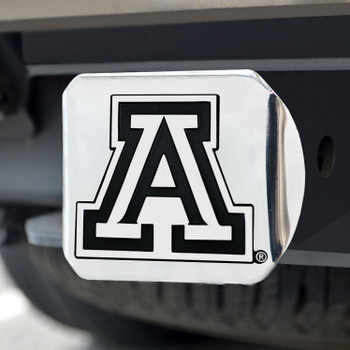 University of Arizona Hitch Cover - Chrome on Chrome