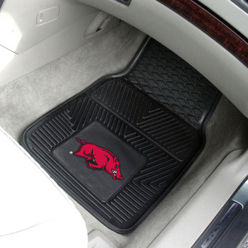 University of Arkansas Heavy Duty Vinyl Front Black Car Mat, Set of 2