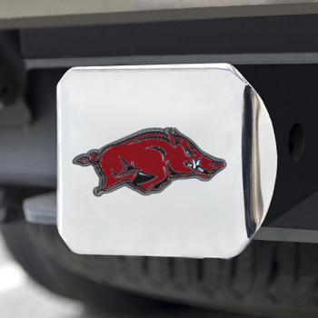 University of Arkansas Color Hitch Cover - Chrome