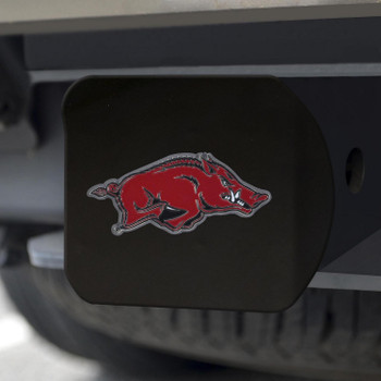 University of Arkansas Hitch Cover - Color on Black