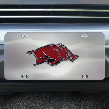 University of Arkansas Diecast Stainless Steel License Plate
