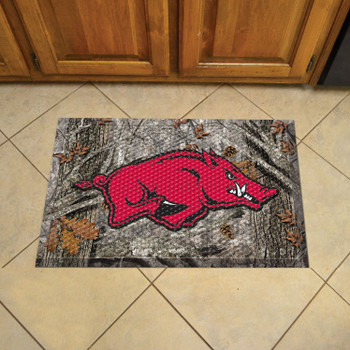 "19"" x 30"" University of Arkansas Rectangle Camo Scraper Mat - ""Razorback"" Logo"