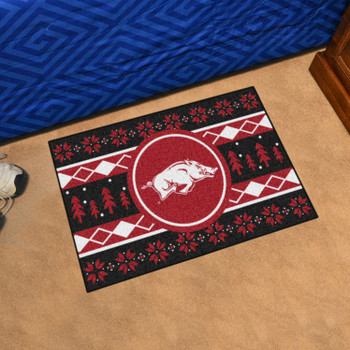 "19"" x 30"" University of Arkansas Holiday Sweater Black Rectangle Starter Mat"