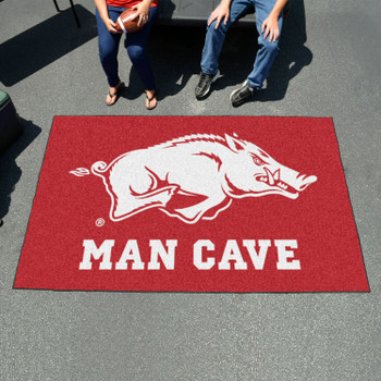 "59.5"" x 94.5"" University of Arkansas Man Cave Red Rectangle Ulti Mat"