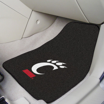University of Cincinnati Black Carpet Car Mat, Set of 2