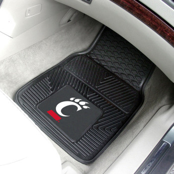 University of Cincinnati Heavy Duty Vinyl Front Black Car Mat, Set of 2