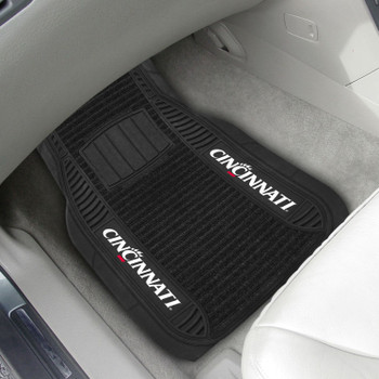University of Cincinnati Deluxe Vinyl & Black Carpet Car Mat, Set of 2
