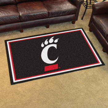 4' x 6' University of Cincinnati Black Rectangle Rug