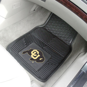 University of Colorado Heavy Duty Vinyl Front Black Car Mat, Set of 2