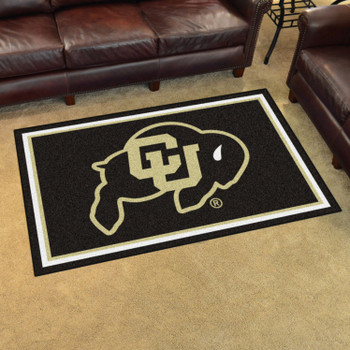 4' x 6' University of Colorado Black Rectangle Rug
