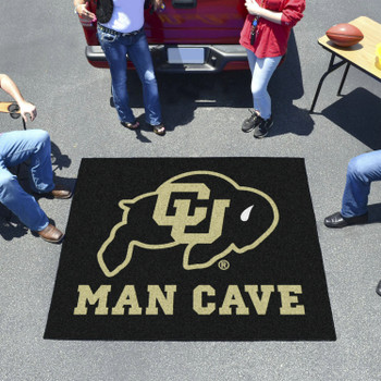 "59.5"" x 71"" University of Colorado Man Cave Tailgater Black Rectangle Mat"