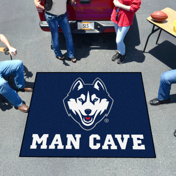"59.5"" x 71"" University of Connecticut Man Cave Tailgater Navy Blue Rectangle Mat"