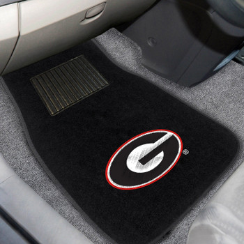 University of Georgia Embroidered Black Car Mat, Set of 2