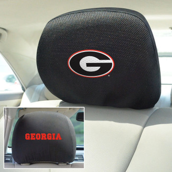 University of Georgia Car Headrest Cover, Set of 2