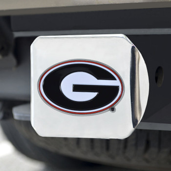 University of Georgia Color Hitch Cover - Chrome