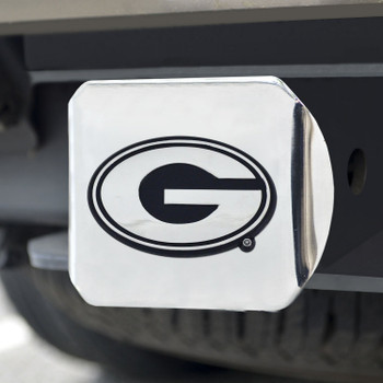 University of Georgia Hitch Cover - Chrome on Chrome