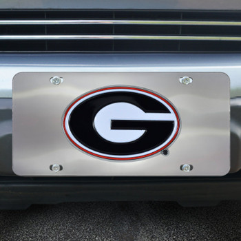 University of Georgia Diecast Stainless Steel License Plate