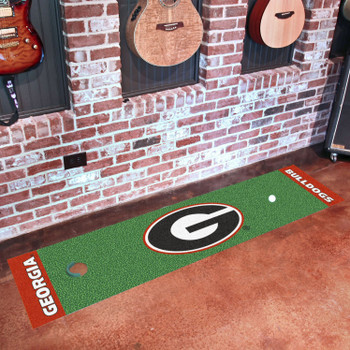 "18"" x 72"" University of Georgia Red G Logo Putting Green Runner Mat"