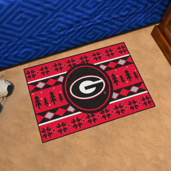 "19"" x 30"" University of Georgia Holiday Sweater Red Rectangle Starter Mat"