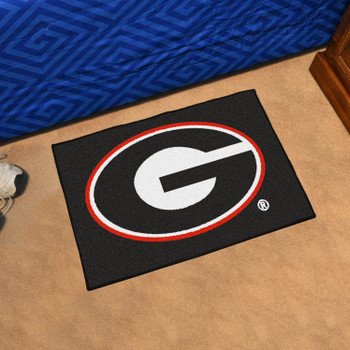 "19"" x 30"" University of Georgia Red G Logo Black Rectangle Starter Mat"