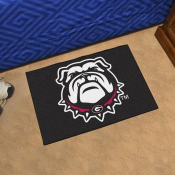 "19"" x 30"" University of Georgia Bulldog Logo Black Rectangle Starter Mat"