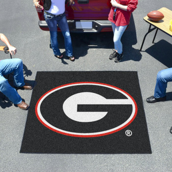 "59.5"" x 71"" University of Georgia Red G Logo Black Tailgater Mat"