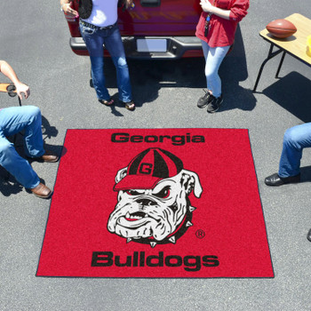 "59.5"" x 71"" University of Georgia Bulldog Logo Red Tailgater Mat"