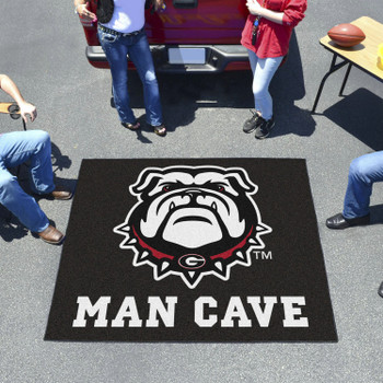 "59.5"" x 71"" University of Georgia Black Man Cave Tailgater Rectangle Mat"