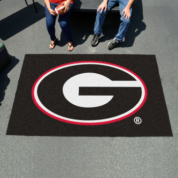 "59.5"" x 94.5"" University of Georgia Red G Logo Black Rectangle Ulti Mat"