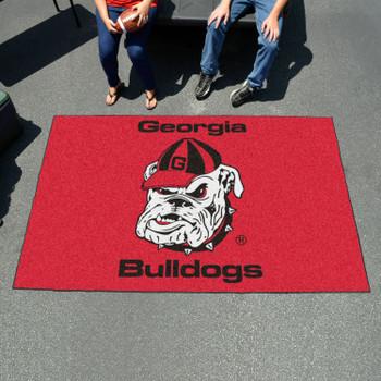 "59.5"" x 94.5"" University of Georgia Bulldog Logo Red Rectangle Ulti Mat"
