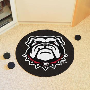 "27"" University of Georgia Puck Round Mat - ""Bulldog"" Logo"