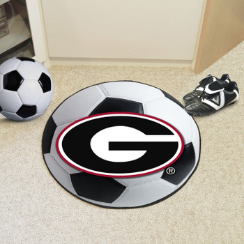 "27"" University of Georgia Red G Logo Soccer Ball Round Mat"
