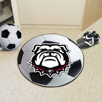 "27"" University of Georgia Bulldog Logo Soccer Ball Round Mat"