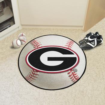 "27"" University of Georgia Red G Logo Baseball Style Round Mat"