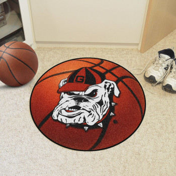 "27"" University of Georgia Bulldog Logo Orange Basketball Style Round Mat"
