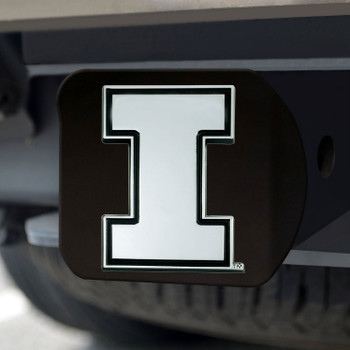 University of Illinois Hitch Cover - Chrome on Black