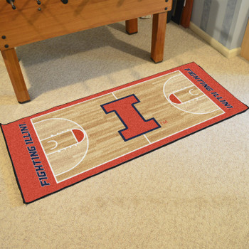 "30"" x 72"" University of Illinois NCAA Basketball Rectangle Runner Mat"