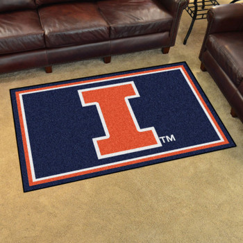 4' x 6' University of Illinois Blue Rectangle Rug