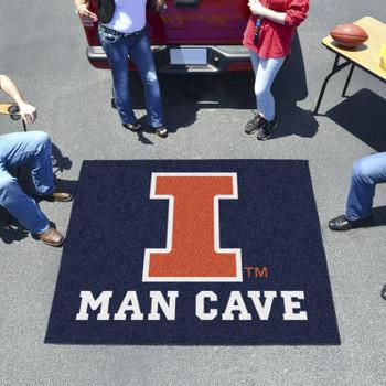 "59.5"" x 71"" University of Illinois Man Cave Tailgater Blue Rectangle Mat"