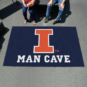 "59.5"" x 94.5"" University of Illinois Man Cave Blue Rectangle Ulti Mat"