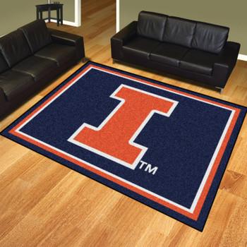 8' x 10' University of Illinois Blue Rectangle Rug