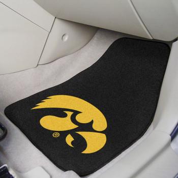 University of Iowa Black Carpet Car Mat, Set of 2