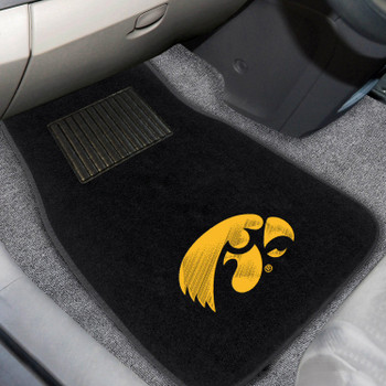 University of Iowa Embroidered Black Car Mat, Set of 2