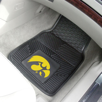 University of Iowa Heavy Duty Vinyl Front Black Car Mat, Set of 2