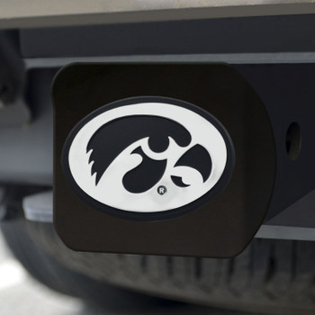 University of Iowa Hitch Cover - Chrome on Black