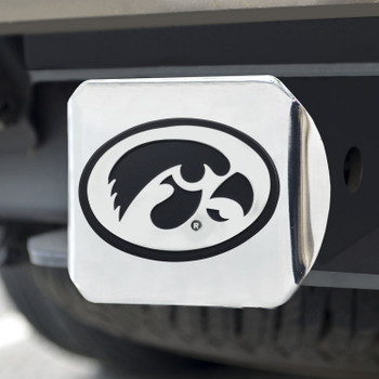 University of Iowa Hitch Cover - Chrome on Chrome