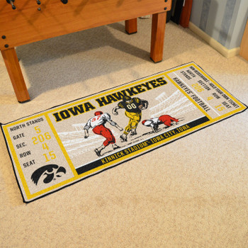 "30"" x 72"" University of Iowa Ticket Rectangle Runner Mat"