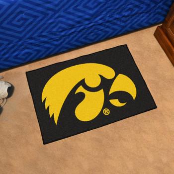 "19"" x 30"" University of Iowa Black Rectangle Starter Mat"