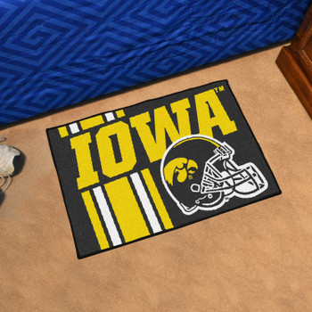 "19"" x 30"" University of Iowa Uniform Black Rectangle Starter Mat"